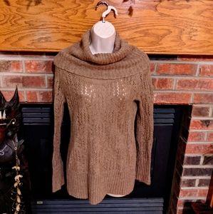 Elle brand tan cowl neck tunic length sweater S